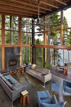 Proyecto casa we puertos liiving. Fp en cemento o viguetas, cieloraso doble altura. Basecamp / Johnston Architects