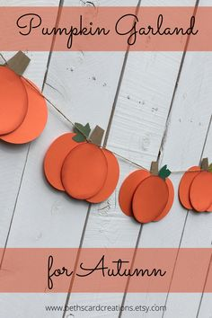 These cheery orange pumpkins strung on twine make a great Autumn decoration to hang across your fireplace mantel. Fall Home Decor, Autumn Home, Room Decorations, Holiday Decorations, Different Seasons, Window Displays, Cubicle, Fireplace Mantels, Garlands