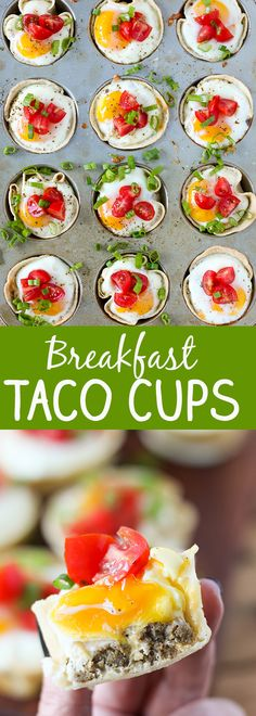 Breakfast Taco Cups - seasoned turkey sausage, shredded cheese and an egg baked in a tiny taco cup! @jennieorecipes