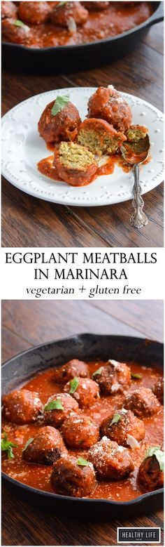 Eggplant Meatballs in Marinara Sauce is actually a meat-free recipe that is vegetarian and gluten-free.  This Eggplant Meatball recipe is made with roasted eggplant, creamy salty parmesan cheese, Italian breadcrumbs and fresh basil and parsley packed into a balls, and then lightly fried, served topped with marinara sauce.  - A Healthy Life For Me
