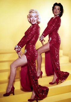 Marilyn Monroe and Jane Russell in publicity for Gentlemen Prefer Blondes by Ed Clark, 1953.