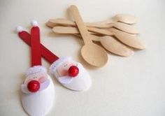Use the wooden disposable spoons. I've seen them at World Market. Christian Christmas, Noel Christmas, Christmas Crafts For Kids, Christmas Projects, Simple Christmas, Handmade Christmas, Holiday Crafts, Christmas Ornaments, Father Christmas