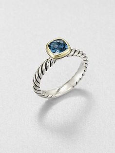 David Yurman Blue Topaz, 18K Gold & Sterling Silver Ring
