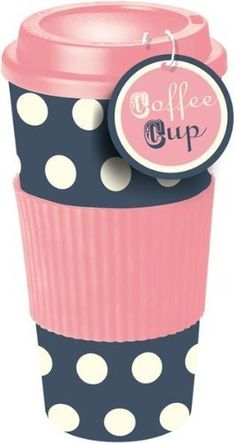 Pink & Blue Polka Dot Thermal Insulated Tea Coffee Mug Cup Travel Takeaway & Lid: Amazon.co.uk: Kitchen & Home