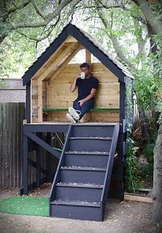 Shed Plans - Tree Hut made completely of wood found in skips within walking distance from my studio. Including a staircase and floorboards from a Victori. - Now You Can Build ANY Shed In A Weekend Even If You've Zero Woodworking Experience! Pallet Playhouse, Playhouse Outdoor, Simple Playhouse, Playhouse Ideas, Kids Garden Playhouse, Treehouse Ideas, Treehouses For Kids, Painted Playhouse, Cubby Houses