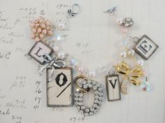 Love Valentine's Day Soldered Charm Vintage Style by cdvcreations, $70.00