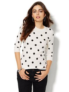 Luxe Waverly Crewneck Sweater - Shimmer Polka Dot