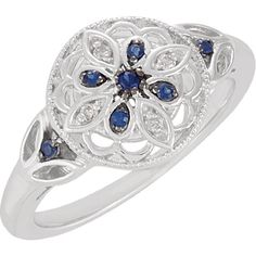 Blue Sapphire Diamond Sterling Engagement Ring by MichelleJesmain