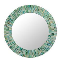 Shop for Aqua Fantasy Turquoise Green Brown and White Glass Tile Mosaic Decorator Accent Contemporary Round Wall Mirror (India). Get free shipping at Overstock.com - Your Online Home Decor Outlet Store! Get 5% in rewards with Club O! - 16832243