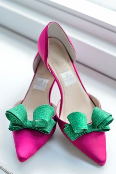 Pink and green glitter bow shoes