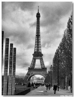 "Torre Eiffel desde os jardins do ""Champs de Mars"""