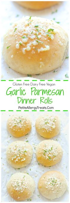 Garlic Parmesan Gluten Free Dinner Rolls Recipe (dairy free vegan)- Light and fluffy garlic parmesan gluten free rolls or hamburger buns. Soft and delicious warm from the oven. Food Allergy friendly too!