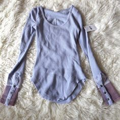 Free People Tops - Lavender Free People Thermal Button Sleeve Cuff Xs