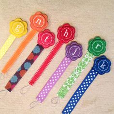 Monogram Pacifier Clip - Universal Fits Soothie Gumdrop - Baby Boys or Girls Shower Gift - Customized for you. $8.95, via Etsy.