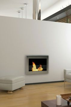 SoHo Stainless Steel Indoor Wall Mount Fireplace by Anywhere Fireplaces on @HauteLook