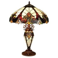 "Stained Glass Tiffany Style 25"" Victorian Table Lamp Pull Chain Bronze Finish"
