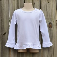 Girl's ruffled long sleeve white embroidery blank shirt   Love these for applique! Great quality and weight!