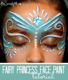 DIY Princess Face Paint Makeup Tutorial by Atop Serenity Hill for U Create here. She uses cosmetic glitter, face paint and craft store press on jewels for this step by step tutorial.