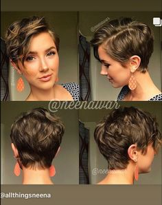 Short Curly Hair, Curly Hair Styles, Pixie Wavy Hair, Wavy Pixie Haircut, Pixie Updo, Short Hair Long Bangs, Pixie Hair Color, Curled Pixie, Pixie Haircut For Round Faces