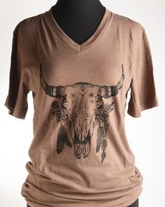 DESIGNED & PRINTED IN OKLAHOMA! Super soft tee with Bohemian cow skull on the front and the National Cowboy Museum logo on the back. - T-Shirts - National Cowboy Museum