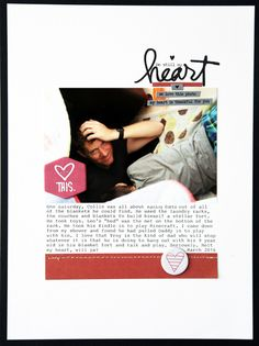 MandieLou's Be still my heart- scrapbook layout with 1 photo and simple embellishing