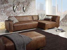 Ledercouch braun wohnzimmer  Modernes Sofa – Designer Couch fürs Wohnzimmer aus Leder – schwarz ...