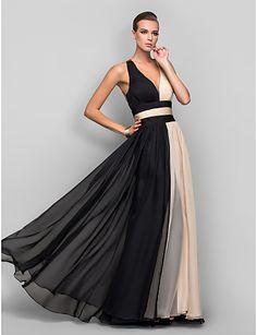 Military Ball/Formal Evening Dress - Multi-color A-line/Princess V-neck Floor-length Chiffon – USD $ 94.99