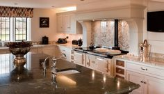 Cream granite behind the Aga is a beautiful and practical splashback in this Peover country house in Cheshire. Beautiful Kitchen Designs, Beautiful Kitchens, Bespoke Kitchens, Luxury Kitchens, Luxury Kitchen Design, Splashback, Kitchen Cabinets, Interior, Aga