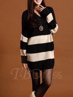 TBDress - TBDress Loose Round Neck Long Sleeve Womens Sweater Dress - AdoreWe.com
