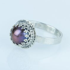 Black Pearl Ring in Sterling Silver Purple by JujuBySarah on Etsy