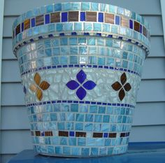 x Materials Used: Stained Glass Tile, Aventurine Metallic Glass Tile, Crystal Murrini Glass Tile, Recycled Glass Tile, Soft Glass Puzzle Tile. Mosaic Planters, Mosaic Vase, Mosaic Flower Pots, Blue Mosaic, Mosaic Garden, Mosaic Tiles, Pebble Mosaic, Glass Tiles, Mosaic Crafts
