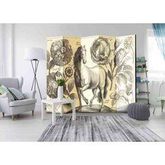 grosser paravent aus leinwand auf holz mit wunderschoner vintage naturdarstellung pferd und blumen