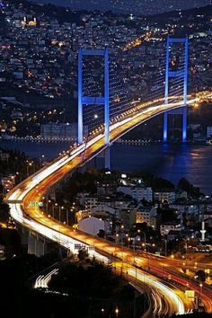 The Bosphorus Bridge, Istanbul, Turkey. Visited Istanbul with my wife while on Mediterranean cruise in July 2010 Beautiful Places To Visit, Wonderful Places, Cool Places To Visit, Places To Travel, Travel Destinations, Places Around The World, Around The Worlds, Bosphorus Bridge, Visit Turkey