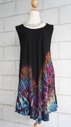 NEW TIE DYE 004 SHORT DRESS HIPPIE BOHO GYPSY Sundress Blouse Top Sleeveless