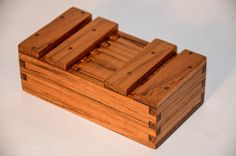 Teak Japanese wooden box. Sliding top with wooden hinge. (Grease Box) Wood Box
