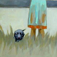 Pup in the Grass . black lab puppy dog . art print. $15.00, via Etsy.