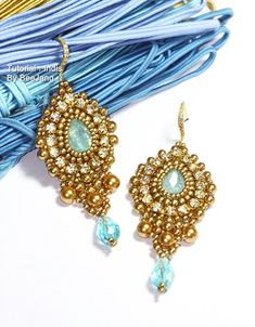 Tutorial - Indis Earrings  You will receive the PDF file, step by step instruction how to make this beautiful earrings. Although I will show you the step by step, I would recommend this pattern for a beader with basic knowledge of beading and bead embroidery. But do not worry if you are a beginner and would like a challenge, Im here to help you anytime!  Main techniques - Bead Embroidery - Right Angle Weave.  Materials : - Pear Shape Rhinestone 14x10mm. - Rhinestone Cupchain 3mm. - Pearl…