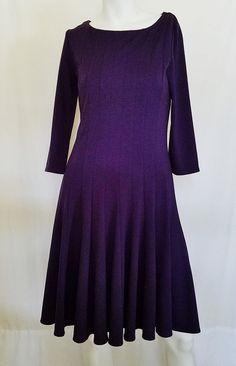 585830f76c5 Coldwater Creek Womens Fit  amp  Flare Dress Purple Ponte Knit 3 4 Sleeve Sz