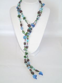 Handmade Green Blue Purple Glass Beaded Treasure Lariat Necklace Lampwork Beads | eBay