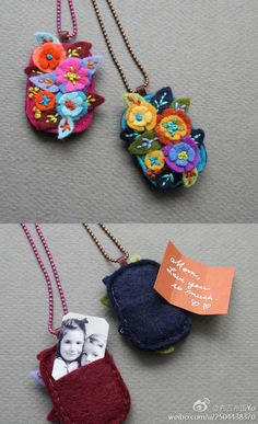 No tutorial, just an inspiring idea: pretty felt necklace with a secret storage for photos etc. Fiber Art Jewelry, Textile Jewelry, Fabric Jewelry, Jewellery, Felted Jewelry, Felt Necklace, Fabric Necklace, Locket Necklace, Felt Flowers