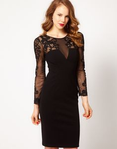 Pencil Dress with Lace Detail