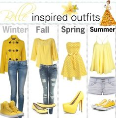 Belle-inspired outfits in shades of yellow, which we love in nursery decor!