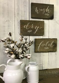 "- Set of 3 { Wash, Dry, Fold } - Measures approx 12""w x 7""h - Finished in dark stain, cream lettering & lightly distressed - Handmade in Eau Claire, WI +Lead Time :: Approx { 14 - 17 business days } +"