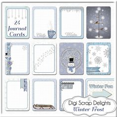 Winter Frost Blue Project Life type cards for Snow Scrapbooking Snowman, Snow Flakes, Cocoa,