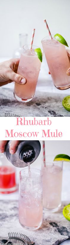 Delicious Moscow Mule is a mix of vodka, lime and ginger beer, made even more alluring with the addition of a rhubarb syrup.