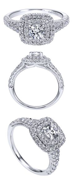 Adorn the one you love with a 14k White Gold Contemporary Halo Engagement Ring from Gabriel & Co.