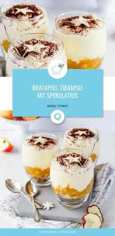 Baked apple tiramisu with spiced biscuits dessert dessert apple apple apple apple tiramisu dessert glass Baked Pasta Recipes, Baking Recipes, Dessert Recipes, Mini Desserts, Delicious Desserts, German Desserts, Tapas, Simply Yummy, Vegan Scones