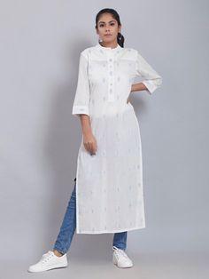 White Cotton Kurta Indian Attire, Indian Ethnic Wear, Indian Outfits, Churidar Designs, Kurti Neck Designs, Anarkali Tops, Black Anarkali, Kurti With Jeans, Ethnic Trends