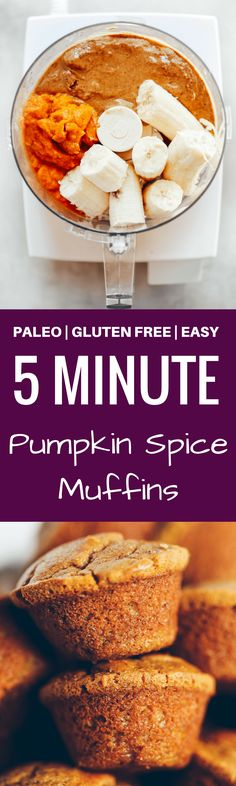 Flourless pumpkin banana muffins make for easy meal prep- perfect for cozy fall breakfasts or post workout fuel! Naturally sweetened, with added health benefits and protein from collagen peptides. Pumpkin Protein Muffins, Pumpkin Muffin Recipes, Protein Cake, Protein Cookies, Paleo Baking, Gluten Free Baking, Gluten Free Pumpkin, Healthy Pumpkin, Paleo Dessert