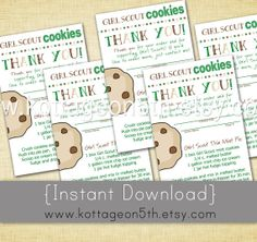 Girl scout troop wanted a business card that they could pass out to sale instant download girl scout cookie thank you cards unlimited printable reorder notes with colourmoves Image collections